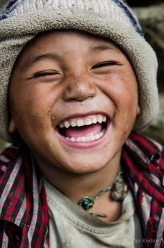 """""""Joy"""" by Dor Kedmi.""""Very nice boy I met on the way to Mount Everest"""" Laughter Happy Smile, Smile Face, Make You Smile, Happy Faces, Smiling Faces, I'm Happy, Beautiful Smile, Beautiful Children, Beautiful People"""