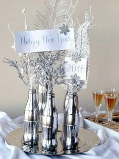 How to Make a Mercury Glass Coke Bottle Centerpiece. Easy DIY Craft with Free Printables for a 2016 New Year's Eve Party! crafts to make and sell bottle How to Make a Mercury Glass Coke Bottle Centerpiece bottle crafts Crafts To Make And Sell, Easy Diy Crafts, Wine Bottle Crafts, Bottle Art, Glass Coke Bottles, Empty Bottles, New Year Diy, New Year Table, New Years Eve Decorations