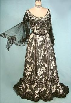 c. 1905, Black Silk Embroidered Evening Gown  AntiqueDress.com - Museum items for Sale