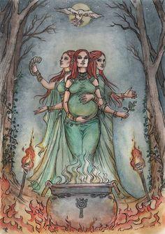 Lyriel the triple goddess by Neferu on DeviantArt Wiccan Art, Goddess Art, Pagan Art, Animal Art, Animal Tattoos, Hippie Art, Celtic Art, Art, Triple Goddess
