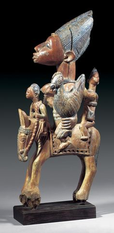 Africa | Equestrian figure from the Yoruba people of Nigeria | Wood and paint