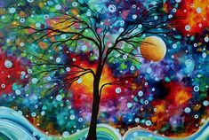 Abstract Art: Original, Colorful, Landscape Painting: A Moment In Time, By Mad Art, Megan Duncanson.