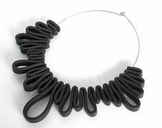black rubber necklace modern geometric design avant от frankideas