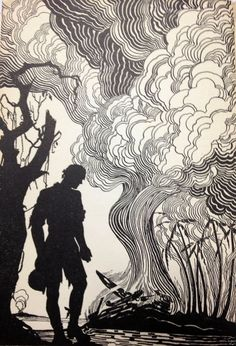 Don Blanding 1943 ART DECO Print Silhouette Soldier Tree Battle War Bataan Falls