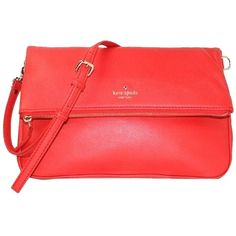 Pre-owned Kate Spade Cobble Hill Clarke Red Cross Body Bag ($166) ❤ liked on Polyvore featuring bags, handbags, shoulder bags, red, pre owned purses, red cross body purse, red handbags, red purse and preowned handbags