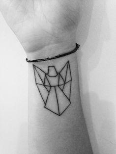 Geometric angel tattoo