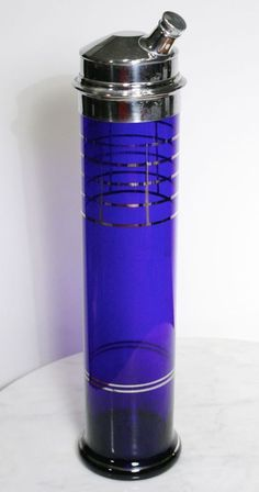 Cobalt blue skyscraper cocktail shaker with silver trim
