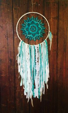 Large Dream Catcher Blue and White by 54UniqueBoutique on Etsy