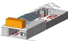 A Restaurant Built Out Of Shipping Containers. The front elevation would consist of a combination of corrugated shipping containers flanking a recessed aluminum and glass storefront system with glass entry door, and open take-out window with an angled metal canopy.