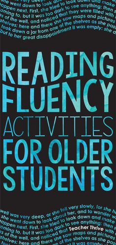 Reading fluency is also an issue for older students. Check out these tips to tac… Reading fluency is also an issue for older students. Check out these tips to tackle this problem in your classroom. Reading Fluency Activities, Reading Resources, Reading Strategies, Reading Comprehension, Fluency Practice, Dyslexia Strategies, English Resources, Reading Passages, Middle School Reading