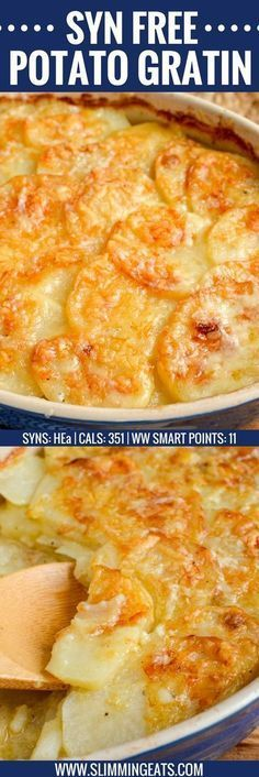 one loves a cheesy garlicky Potato Gratin and this one will not disappoint. It ticks every box and is truly scrumptious. gluten free, vegetarian, Slimming World and Weight Watchers friendly Slimming World Free, Slimming World Dinners, Slimming World Syns, Slimming Eats, Slimming World Lunch Ideas, Slimming World Desserts, Slimming World Vegetarian Recipes, Slimming Recipes, Syn Free Food