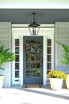 Beautiful Farmhouse Front Door Entrance Decor And Design Ideas - Front Exterior Best Home Design Front Door Entrance, Entrance Decor, Glass Front Door, Front Door Decor, Front Entrances, Entry Doors, Front Door Side Windows, Glass Door, Entrance Ideas