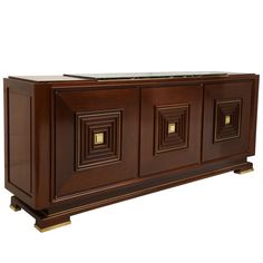 Deco Mahogany French Buffet Sideboard with Bronze Detailing Marble Top 1940 | From a unique collection of antique and modern buffets at https://www.1stdibs.com/furniture/storage-case-pieces/buffets/
