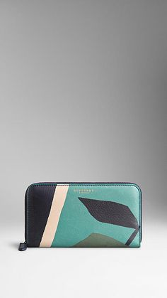 Storm grey Book Cover Print Leather Ziparound Wallet - Image 1