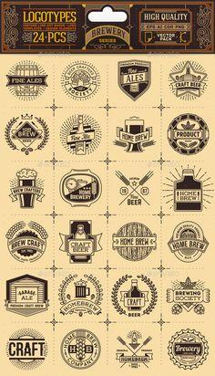 Brewery Thin Line Badges and Logos. – Vectors Brauerei Thin Line Abzeichen und Logos. Beer Logo Design, Brewery Design, Vintage Logo Design, Badge Design, Label Design, Vintage Logos, Design Design, Brewery Logos, Restaurant Logo