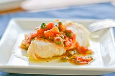 Cod with Herbed Tomato-Caper Compote - made this tonight and it was awesome! I didn't have the fresh herbs so just left them out and it was still awesome and flavorful. Fish Recipes, Seafood Recipes, Dinner Recipes, Heart Healthy Recipes, Low Carb Recipes, Cook Smarts, Clean Eating Chicken, Fish Dishes, What To Cook