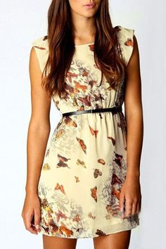 O-neck Sleeveless Chiffon Butterfly Print Dress