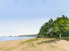 Eva Bartel, Agawa Bay, Lake Superior, Ontario, watercolor Bay Lake, Watercolor Landscape Paintings, Lake Superior, Ontario, Beach, Artist, Plants, Outdoor, Watercolor Artists