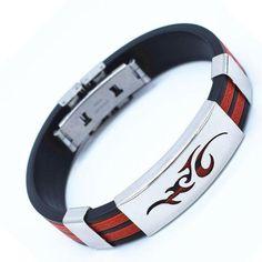 Eines von vielen wünderschönen Armbändern von Austrian Trader Bracelets For Men, Bangle Bracelets, Bangles, Bracelet Sport, Bracelet Men, Silicone Bracelets, Hologram, Shape Patterns, Stainless Steel Bracelet