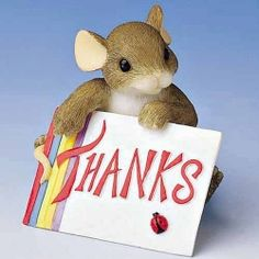 THANKS! 89/142 Charming Tails  Charming Tails Figurine Everyday Expressions: Mackenzie holds a Thank You card. Great gift to thank someone special! Retired in 2005 In mint condition in its original box.