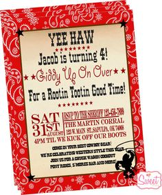 Western Cowboy Party InvitationPrinted by SweetbyCandy on Etsy, $18.00