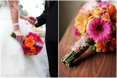 Gorgeous pink, orange, and green wedding. This reminds me of my wedding colors, love it!