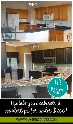Kitchen update on a budget! Paint that looks like granite and one-day cabinet makeover. #DIY www.gianigranite.com www.nuvocabinetpaint.com. Countertop Paint!