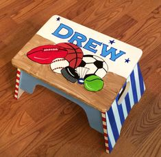 Step Stool Custom Childs Stool Chair Personalized Hand Painted