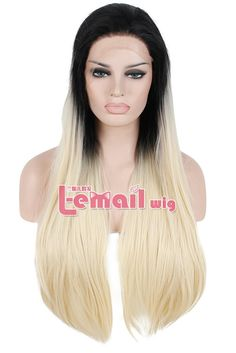 (38.33$)  Know more - http://ain7v.worlditems.win/all/product.php?id=32378139203 - Heat Resistant 75cm Long Straight Black Blonde Gradient Ombre Lace Front Wig