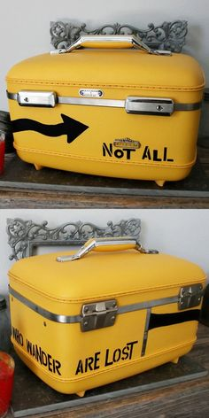 UPCYCLED Bright Yellow VINTAGE Train Case Luggage with Urban Arrow Symbol and Tolkien Quote in Black