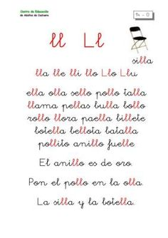 METODO DE LECTOESCRITURA LETRA LL Spanish Sentences, Maila, Phonics, Activities For Kids, Diy And Crafts, Homeschool, Language, Teaching, Writing