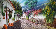 "Pintor Colombianos: ""José Raúl Rodríguez Galán"" Arte y Pintura Costumbrista Colombiana Chalk Pastel Art, Chalk Pastels, Pintura Exterior, Garden Painting, Home Wallpaper, 2d Art, Painting Inspiration, Tibet, Home Art"