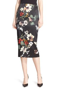 Nordstrom Signature and Caroline Issa Floral Print Stretch Satin Pencil Skirt available at #Nordstrom