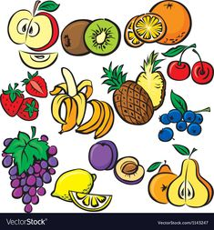 Fruits icon set vector image on VectorStock Kids Vector, Free Vector Images, Vector Free, Funny Vegetables, Christmas Wooden Signs, Party Frame, Fruit Icons, Pumpkin Vector, Preschool Colors