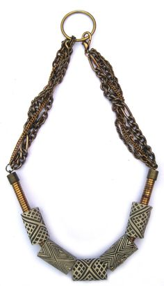 Image of Printed Textile Motif Tube Necklace