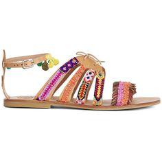 Elina Linardaki Multi Leather Hula Hoop Sandals ($205) ❤ liked on Polyvore featuring shoes, sandals, summer sandals, flat leather sandals, leather sole sandals, woven leather sandals and ankle wrap sandals