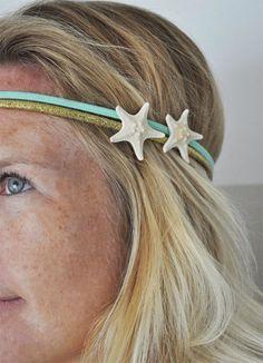 Starfish Headband - Beach Headband - Mermaid Hair - Boho Headband - Starfish Hair Accessories -Starfish Wedding - Stocking Stuffer by saltyandsandy on Etsy https://www.etsy.com/listing/176169479/starfish-headband-beach-headband-mermaid