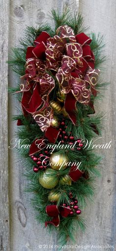 Christmas Wreath, Holiday Wreath, Christmas Swag, Victorian Christmas, Teardrop, Burgundy, Elegant Holiday Swag by NewEnglandWreath on Etsy