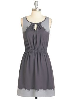 Stepping and Swaying Dress - Grey, Solid, Cutout, Scallops, Casual, A-line, Sleeveless, Fall, Woven, Mid-length
