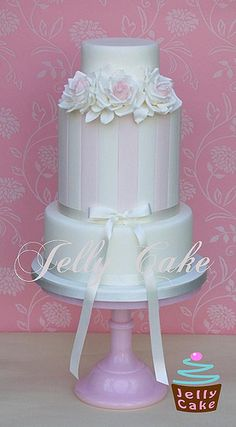 Roses and Stripes Wedding Cake