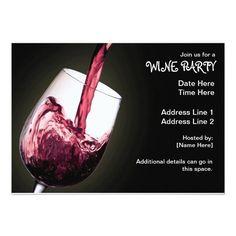 """Wine Party Invitations 5"""" X 7"""" Invitation Card"""