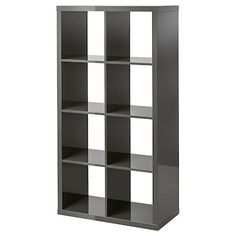 KALLAX Shelf unit, high gloss gray, 30 You can use the furniture as a room divider because it looks good from every angle. Ikea Kallax Shelf Unit, Ikea Eket, Kallax Regal, Hm Home, Grey Shelves, Cube Shelves, Honeycomb Paper, Painted Drawers, Grey Wood