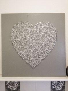 DIY Spijkerhart  - 60 x 60 mdf plaat - lakverf - zakje spijkers zilverkleurig  - wit touw
