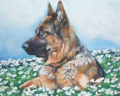 German Shepherd dog art canvas print of LA Shepard by TheDogLover, $19.99