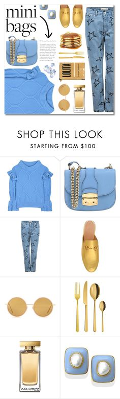 """blue brunch"" by janajane90 ❤ liked on Polyvore featuring Burberry, Miu Miu, Être Cécile, Gucci, Acne Studios, Sambonet, Dolce&Gabbana, gold, Blue and jeans"