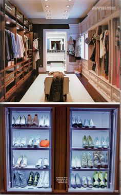 If we can't have separate closets, I love how they do a feminine side and masculine side of the closet with the cabinetry.