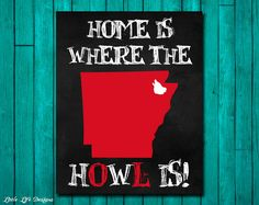 Arkansas State University Wall Art. Arkansas State Redwolves. Home is where the HOWL is! by LittleLifeDesigns