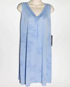 Jones New York Gown Blue Nightgown Chemise New Extra Large Etched Rose Jersey