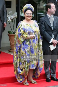 Grand Duchess Maria of Russia is sighted leaving the 'Hermitage' hotel to attend the Royal Wedding of Prince Albert II of Monaco to Charlene Wittstock in the main courtyard at on July 2, 2011 in Monaco, Monaco.