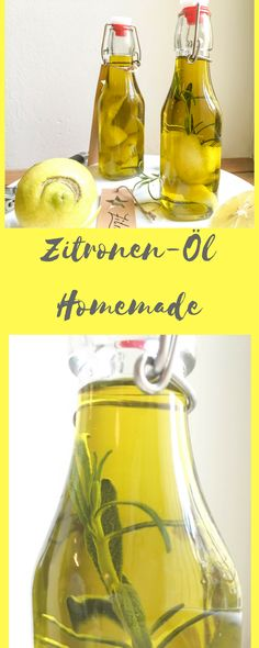 Lemon oil - Zitronen-Öl A delicious lemon oil made in 5 minutes! Raw Food Recipes, Healthy Recipes, Lemon Oil, Party Buffet, Nutrition, Kitchen Gifts, Detox Drinks, Diy Food, Olives